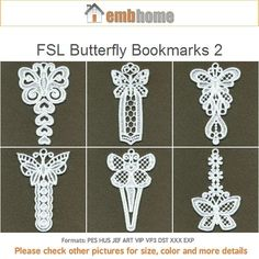 FSL Butterfly Bookmarks 2- Free Standing Lace Machine Embroidery Designs Instant Download 4x4 hoop 10 designs SHE5094