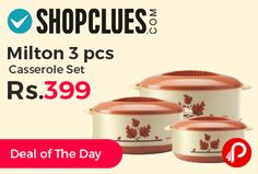 Shopclues #DealofTheDay is offering 45% off on Milton 3 pcs Casserole Set at Rs.399. Inner Round Container with Simple and Functional Lid, 450, 850, 1500 ml Capacity. Dishwasher Safe. Shopclues Coupon Code – SCUPTG104512  http://www.paisebachaoindia.com/milton-3-pcs-casserole-set-at-rs-399-shopclues/