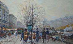 Os Livreiros. Cerca de 1908. Aquarela. Eugène Galien-Laloue (Paris, França, 1854 – 1941, Chérence, França).