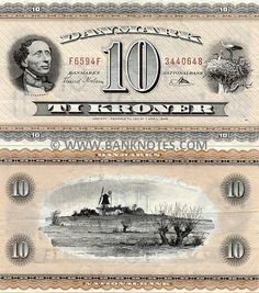 Denmark 10 Kroner 1950-1974  Front: Portrait of the Danish author and poet Hans Christian Andersen (1805-1875) reproduced from a photograph by Budtz Müller & Co. from 1863; Stork's nest. Back: Landscape of the southern Funen (Fyn) Island with Egeskov Mill in the centre, drawn by the illustrator and architect Ib Andersen (1907-1969). Watermark: 10 repeated.