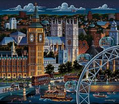 Big Ben and the London Eye, the tallest ferris wheel in Europe, stand magnificently in the forefront, but if one looks closely, one can also find a legendary British band and the always delightful singing nanny. What other English national treasures Travel Around The World, Around The Worlds, London Landmarks, London Night, Puzzle Art, London Art, Naive Art, Big Ben, Folk Art