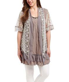Look at this #zulilyfind! Gray & Black Embellished Silk-Blend Layered Top #zulilyfinds
