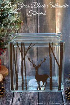 Christmas Deer Glass Block Silhouette Tutorial - Addicted 2 Savings 4 U