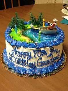 Bass Fishing Cake for my Dad's 70th!