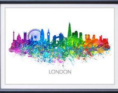 London Skyline Aquarell Kunst Poster drucken - Wand-Dekor - Aquarell Wandkunst - Artwork - Aquarell Malerei - Illustration - Haus Dekor