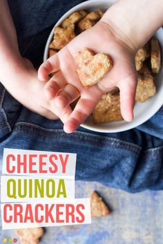 These cheesy quinoa crackers are easy to make and taste great. Fun to make with the kids and a great snack or lunchbox addition. healthy snacks for kids - easy Quinoa Recipes For Kids, Healthy Meals For Kids, Healthy Snacks For Kids, Healthy Foods To Eat, Baby Food Recipes, Kids Meals, Baby Meals, Kid Recipes, Healthy Drinks