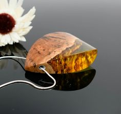 Gum burl wood and yellow resin pendant. Handmade and unique one of a kind.  ArtfulResin.etsy.com  @Artfulresin