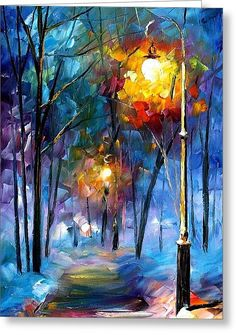 Light Of Luck - Palette Knife Oil Painting On Canvas By Leonid Afremov Greeting Card by Leonid Afremov
