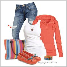 CHATA'S DAILY TIP: A funky, sporty look for a super casual outing! Spice up your classic jeans and white T-shirt combo with a comfy sweater and moccasins in gorgeous tangerine. Complete the look with a fun tote bag and bring on the weekend!!! COPY CREDIT: Chata Romano Image Consultant, Marlise du Plessis http://chataromano.com/consultant/marlise-duplessis/ IMAGE CREDIT: Pinterest