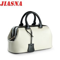 JIASNA 2017 New Women Genuine Leather Soft Handbags European and American Style Solid Zipper Pillow Shoulder Bags High Quality