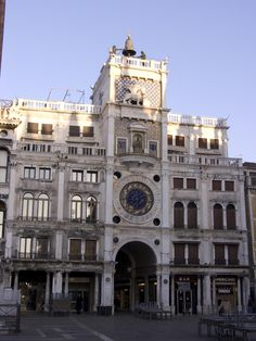 Torre dell'Orologio - 'St Mark's Clock Tower' - 'Moors' Clock Tower'  -- San Marco & Piazza, Venice, Italy - The Torre dell'Orologio (Clock Tower) on Piazza San Marco, just couldn't walk into the square - too many pigeons!