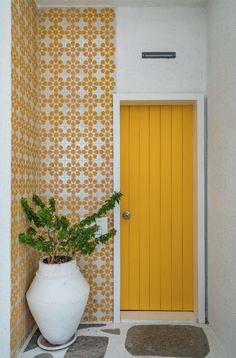Blue Master Bedroom, Master Bedroom Design, Door Design, House Design, Niche Design, Indian Room Decor, Blue Ceilings, Yellow Doors, Bamboo Wall