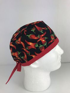 Hot Peppers Skull Cap – Oksana's Creations Surgical Caps, Scrub Hats, Drip Dry, Stuffed Hot Peppers, Different Styles, Making Out, Hand Sewing, Classic Style, Skull