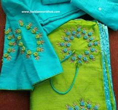 Discover thousands of images about Unique designer blouses Hand Embroidery Dress, Kurti Embroidery Design, Embroidery Saree, Embroidery Suits, Border Embroidery, Embroidery Stitches, Silk Saree Blouse Designs, Saree Blouse Patterns, Bridal Blouse Designs