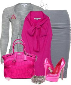 Grey work outfit with a pop of bright pink. Classy Outfits, Chic Outfits, Spring Outfits, Fashion Outfits, Womens Fashion, Fashion Trends, Cheap Fashion, Mode Outfits, Office Outfits