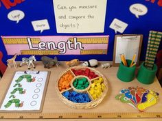 Interactive maths display - measuring length MATHEMATIC HISTORY Mathematics is one of the oldest sciences Maths Eyfs, Numeracy Activities, Measurement Activities, Math Measurement, Math Classroom, Preschool Activities, Eyfs Curriculum, Length Measurement, Future Classroom