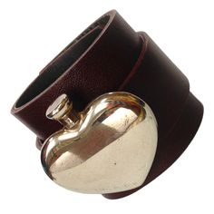 Sterling Silver Heart Perfumer Leather Cuff