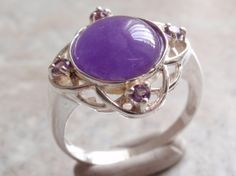 Lavender Jade and Amethyst Sterling Silver Ring by cutterstone, $58.00