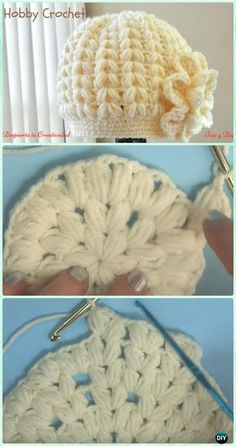 Crochet Baby Hats Crochet Puff Stitch Beanie Hat Free Pattern [Video] - Crochet Beanie Hat Free Patterns - DIY Crochet Beanie Hat Free Patterns (Baby Hat Spring Hat Winter Hat), adjust the color and size for different ages and sex. Crochet Beanie Hat Free Pattern, Bonnet Crochet, Crochet Cap, Diy Crochet, Crochet Crafts, Crochet Stitches, Crochet Ideas, Crocheted Hats, Knit Hats