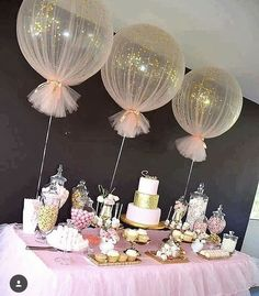 Baby Shower Decorations Balloons wrapped in tulle for party decor Deco Baby Shower, Shower Party, Baby Shower Parties, Baby Shower Themes, Baby Shower For Girls, Baby Shower Table Set Up, Shower Cake, Shower Favors, Babby Shower Ideas