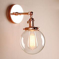 "Permo Vintage Industrial Wall Sconce Lighting Fixture with Mini 5.9"" Round Clear Glass Globe Hand Blown Shade (Copper)"