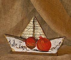 εκ φυσεως: καραβια Greek Christmas, Christmas Mood, Christmas Deco, Christmas Crafts, Xmas, Christmas Ornaments, Clay Projects, Clay Crafts, Diy And Crafts