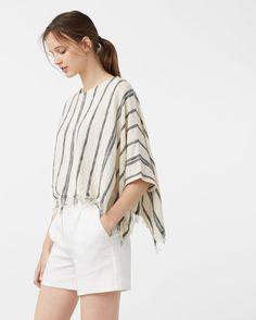 Capa algodão riscas - Cardigans e camisolas de Mulher | MANGO Portugal