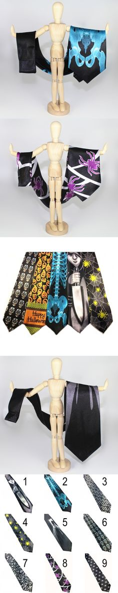 2017 Newest Skull Skeletons Print Design Ties Men's Halloween Party Festival Costume Accessories Necktie Tie Character Designer