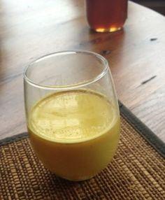 Healing turmeric milk for colds, flu, digestive issues. Kids love it.