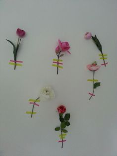 Flowers on the wall with washi tape
