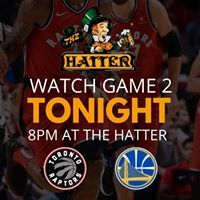 Image may contain: one or more people, text that says 'THE HATTER WATCH GAME 2 TONIGHT 8PM AT THE HATTER TORONTO RAPTORS' Toronto Raptors, Social Media, Game, Watch, People, Clock, Venison, Gaming, Social Networks