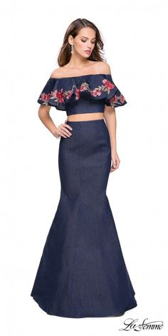 Make a statement in the Two Piece Floral Ruffle Denim Mermaid Evening Dress Features an off the shoulder crop top with a floral applique ruffle and a denim mermaid skirt. #edressme