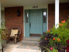 Benjamin Moore, Mill Springs Blue front door w/ brick