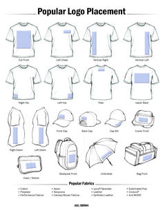 Popular Logo Placement for heat printing items for your heat press business. Learn more at https://www.stahls.com/heat-transfer-design-size-placement?utm_source=pinterestpin&utm_campaign=placement-guide&utm_medium=text-link&utm_content=pop-logo-placement-image