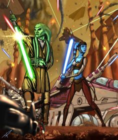 Kit Fisto and Aayla Secura - Battle for Geonosis by DarthPonda on DeviantArt Star Wars Jedi, Star Wars Art, Kit Fisto, Darth Bane, Star Wars Drawings, Jedi Sith, War Comics, Jedi Knight, Star Wars Wallpaper