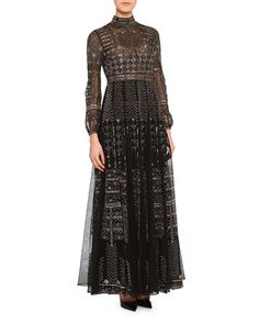 Long-Sleeve Chevron-Beaded Tulle Gown by Valentino at Bergdorf Goodman.