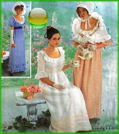 Simplicity 9225 Late 18th Century Regency Empire Gown Patterns