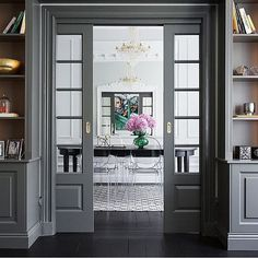 Interior french doors add a beautiful style and elegance to any room in your home. Interior Door, Home Interior Design, Interior And Exterior, Küchen Design, Door Design, House Design, Cafe Design, Gravity Home, Room Doors