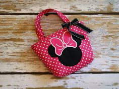 Minnie Mouse Toddler Tote - Hot Pink and Black - Can Be Personalized. $15.00, via Etsy.