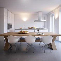 Eames DAR white dining interior, wall sconces
