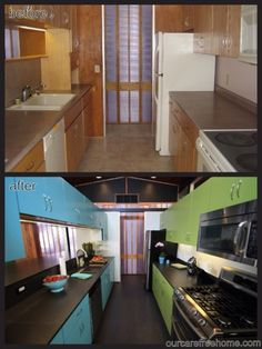 Our Care-Free Home: Before and After: Our Care-free Mid-century Modern Kitchen with blue and green cabinets, black floors and countertops