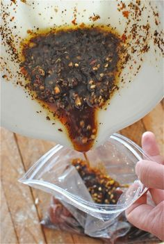 Yummy Marinade: 3T extra virgin olive oil 2T soy sauce 2T worcestershire sauce 2T honey 2T dijon mustard 2T ginger (suggest freshly minced) 3 cloves garlic 1 pinch crushed red pepper 1/2t coffee grounds