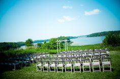 outdoor wedding ceremony overlooking lake   Gale Woods Farm wedding