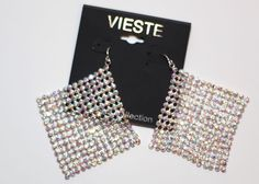 """VIESTE CRYSTAL COLLECTION 3"""" STUDDED RHINESTONE SPARKLY DANGLE EARRINGS SILVER #Vieste #DropDangle"""