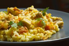 Photo about Chicken risotto with curry on a blue plate. Image of studio, plate, culinary - 28844202 Chicken Risotto, Polish Recipes, Polish Food, Fried Rice, Italian Recipes, Great Recipes, Catering, Nom Nom, Curry