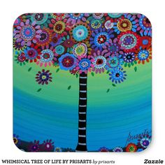 WHIMSICAL TREE OF LIFE BY PRISARTS CLASSIC ROUND STICKER Round Stickers, Different Shapes, Tree Of Life, Custom Stickers, Activities For Kids, Whimsical, Vibrant, Diy Projects, Scrapbook