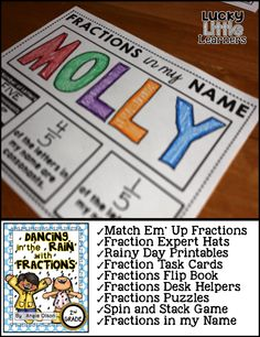 Here are the activities that are included:  Match Em' Up, Fractions Expert Hats, Printables, Task Cards, Flip Book, Desk Helpers, Fractions Puzzles, Fractions Spin & Stack Game (estimating to the nearest 0, 1/2, and 1), and Fractions in my Name Activity These activities include practice and reinforcement of identifying fractions, labeling fractions, creating fractions, identifying numerator & denominator, equal & unequal parts, parts of a whole, limited geometry, and estimating fractions.