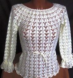 Delicadezas en crochet Gabriela: Blusa elegante de motivos no te pierdas de hacerla