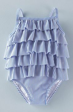 Mini Boden 'Retro Ruffle' One-Piece Swimsuit (Baby Girls & Toddler Girls) available at #Nordstrom