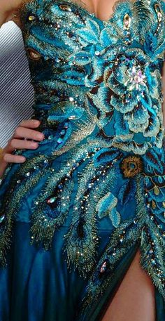 Floral and Peacock Feather Beaded gown